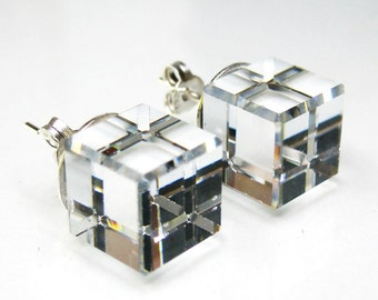 Clear crystal square cube swarovski sterling silver stud earrings 8mm