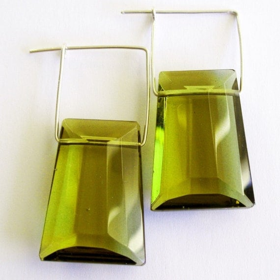 Olive green faceted glass beads sterling silver earrings