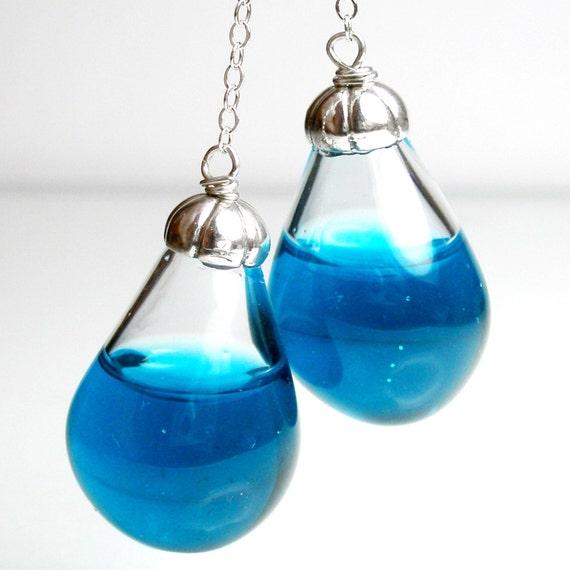 Long drop london blue water pear shaped sterling silver earrings