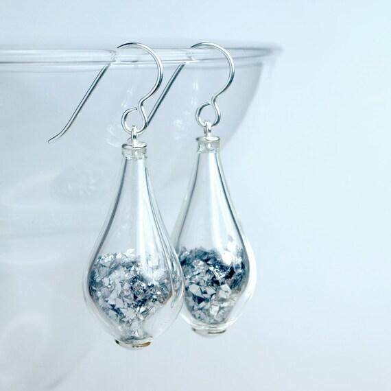 Silver elongated tear drop sterling silver glass earrings
