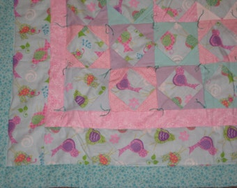 Quilt - Flannel Baby Quilts / Lap Quilt - Hand Made - One of a Kind - BIRDS PINK and BLUE