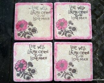 Drink Coaster - Pink Love Tiles - Set of 4 tile coasters - Housewarming Gift