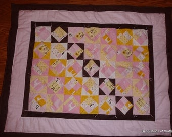 Quilt - Flannel Baby Quilts / Lap Blanket- Giraffe Flower Star - Hand Made  * birthday gifts for her ** Gift for Mothers Day