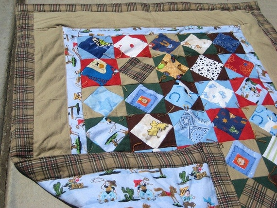 Flannel Baby Quilt / Lap Quilt - Hand Made - One of a Kind - COWBOY