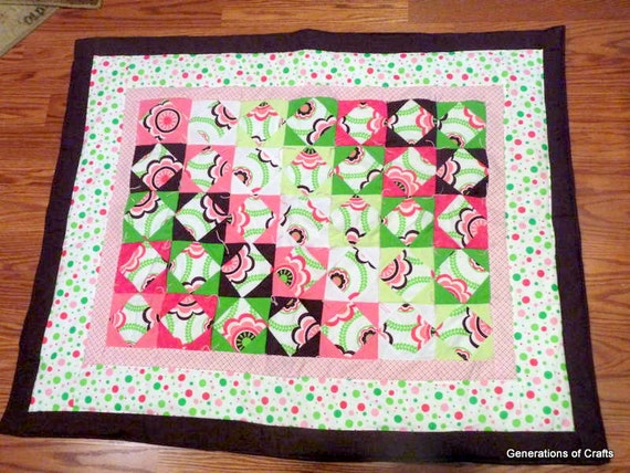 Quilt - Flannel Baby Quilt / Lap Blanket- Bold Beautiful Flowers and Polka-Dots - Hand Made  * birthday gifts for her * Gifts for Mom