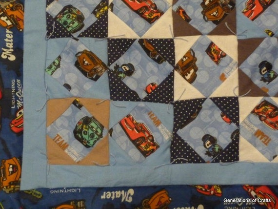 Quilt - Flannel Baby Quilts / Lap Blanket- Cars Disney - Lightning McQueen - Hand Made