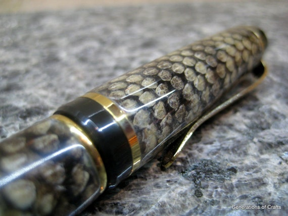 Pen - Snake Skin Cigar Pens - Gold Titanium - Western Diamondback