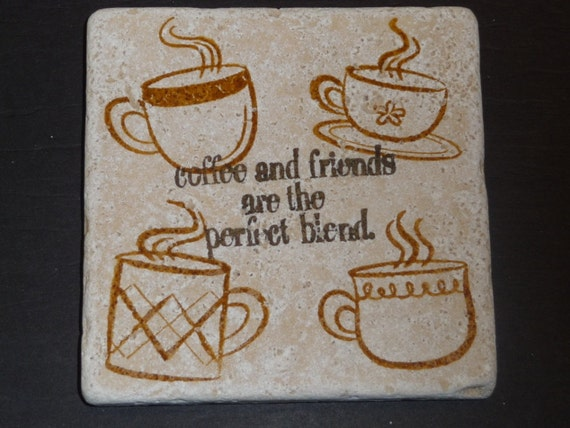 Drink Tile Coasters - Coffee Mug and Quote Tiles - Set of 4 Coaster Tile * Gifts for Girlfriend * Wedding Gift * Gifts for Mom