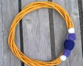 Marigold and Purple FELT FLOWER WREATH - Handmade - Modern