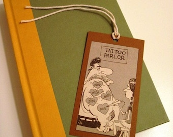 TATOO PARLOR - Cartoon BOOKMARK or Gift Tag - Made from Vintage Mad Magazine