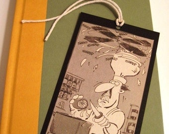 CHEF - Cartoon BOOKMARK or Gift Tag - Made from Vintage Mad Magazine