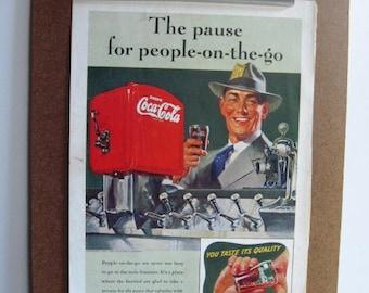 COCA COLA - Vintage 1941 Color Magazine Advertisement, Soda Fountain