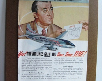 MARTIN AIRCRAFT - Vintage 1947 Color Magazine Advertisement