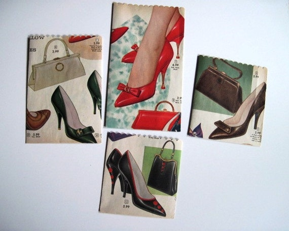 Retro Ladies SHOES and PURSES Paper Gift Bags - Set of 4 - Recycled Vintage Catalog Pages