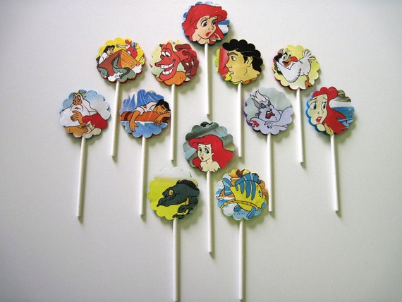 The LITTLE MERMAID - Disney - Cupcake Toppers - Set of 12