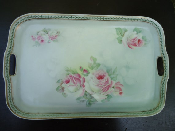 Antique Art Nouveau Pin Tray with Roses