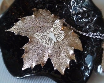 Real Sugar Maple Leaf Necklaceith white butterfly.