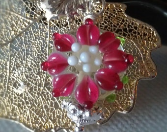 Christmas red flower with sterling silver real leaf.
