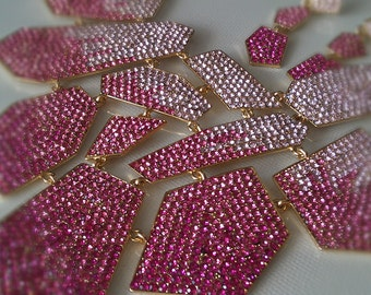 Half Price.Fantastic and sparkly pink crystal pave swarovski necklace .