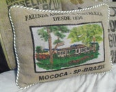 pillow from burlap coffee bag