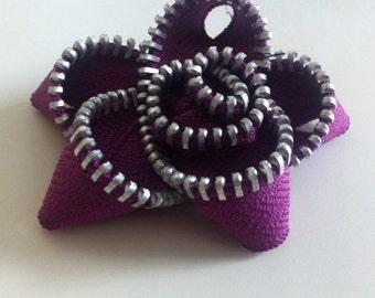Purple Zipper Dog Collar Flower