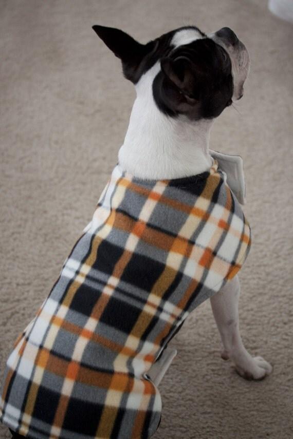 Plaid Fleece Dog Coat Black, White and Orange (Large) - Free Shipping Worldwide - ONLY 1 LEFT