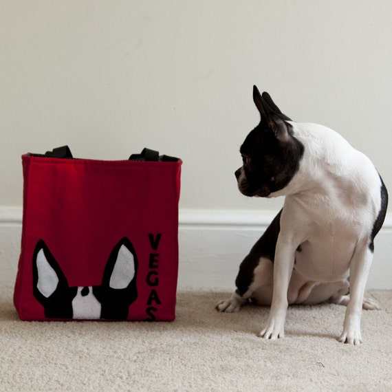 Small Red Tote Bag with Boston Terrier Ears - Personalization Available