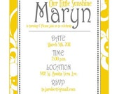 Yellow Sunshine Party PRINTABLE DIY Invitation by Love The Day
