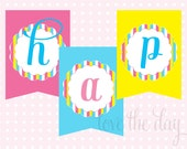 Candy Land Sweet Shop Birthday PRINTABLE Party Banner by Love The Day