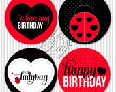 """Ladybug Birthday Party PRINTABLE 5"""" Circles by Lvoe The Day"""