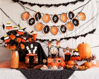 Orange & Black Traditional Halloween PRINTABLE Party (INSTANT DOWNLOAD) by Love The Day