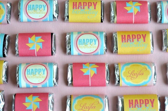 Pinwheel Party PRINTABLE Mini Candy Bar Wrappers INSTANT
