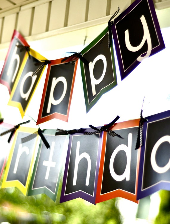 Crayon Party PRINTABLE DIY Happy Birthday Banner from Love The Day