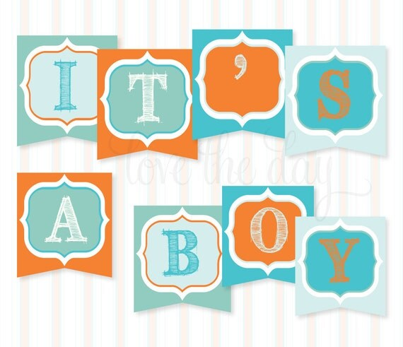 Sip & See Baby Shower PRINTABLE 'It's A Boy' Banner (INSTANT DOWNLOAD) from Love The Day