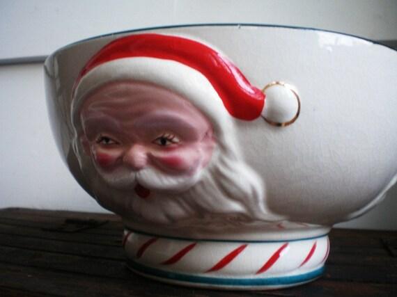 Large Vintage Painted Ceramic Santa Bowl Reserved For Staciebear