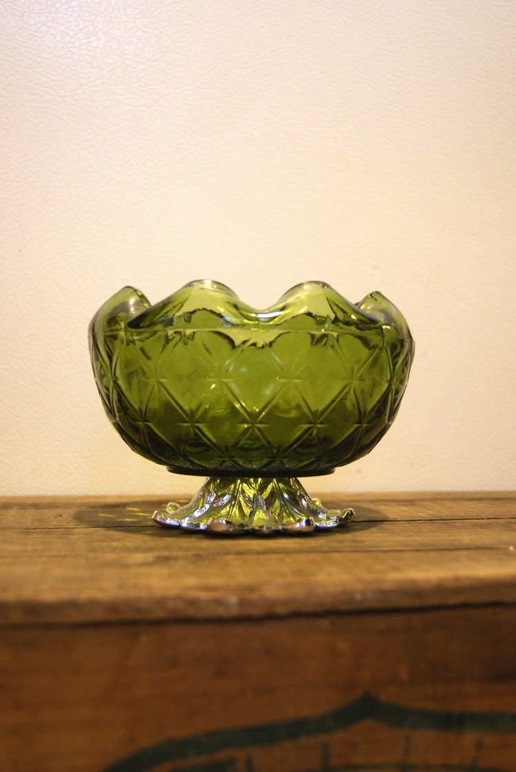 Vintage Green Glass Bowl With Silver Metal Base By Yardsalesisters