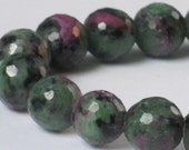 9mm Ruby Zoisite Faceted Round  (7.5 inch Strand)  90-4-104.1