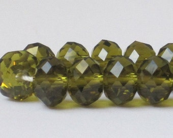8 x 6 mm Olivine Color Faceted Glass Rondelles (Qty 30)  90-6-105