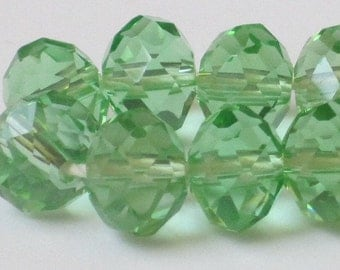 8 x 6 mm Light Green Faceted Glass Rondelle (Qty 30)  90-6-117
