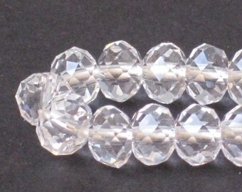 6 x 4 mm Clear Crystal Faceted Glass Rondelle (Qty 40)  90-6-121