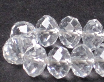 8 x 6 mm Clear Crystal Faceted Glass Rondelle (Qty 30)  90-6-123