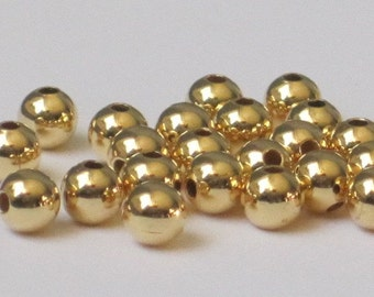 4mm Gold Plated Round Bead  (Qty 100)  50-GP102
