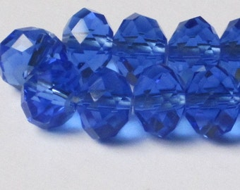 8 x 6mm Blue Faceted Glass Rondelle (Qty 30)  90-6-128