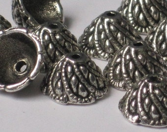 Antiqued Tibetan Silver 10mm Bead Cap  (Qty 20)    75-5-105