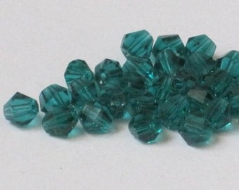 4 mm Teal Bicone Glass Bead (Qty 100)  90-6-135