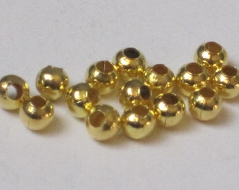 3 mm Gold Plated Round Bead  (Qty 100)  50-GP103