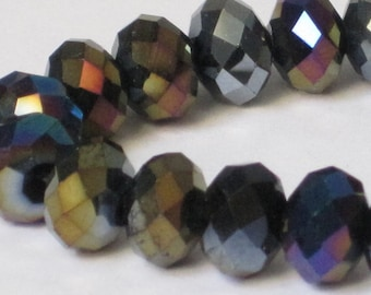8 x 6 mm Black AB Faceted Glass Rondelle (Qty 30)  90-6-182