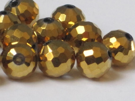8 mm Faceted Round Metallic Gold (Qty 20)  90-6-134