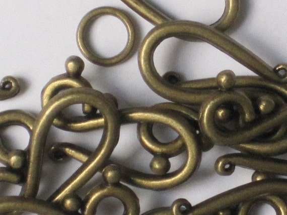 Antiqued Brass Color Hook and Eye Clasp (Qty 12)    75-4-104