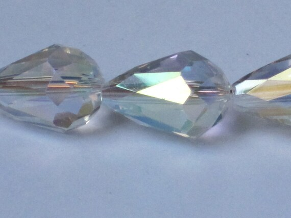 15 x 10 mm Crystal Clear AB Faceted Glass Teardrop (Qty 10)  90-6-171